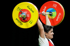 Gulnabat Kadyrova, of Turkmenistan, competes in the women's 69kg weightlifting competition at the Olympics in Rio de Janeiro. Photo / AP
