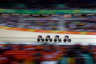 Great Britain's team ride to win gold in the men's team sprint finals at the Olympics in Rio de Janeiro. Photo / AP