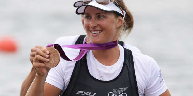New Zealand rowers Rebecca Scown with her bronze medal after the women rowing pair final at Eton Dorney during the 2012 London Olympics.