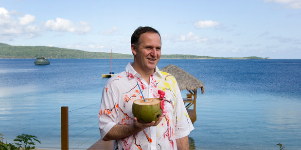 Happy Birthday to Me. Prime Minister John Key in one of the many, many silly shirts he has to be thankful for. Photo / Mark Mitchell