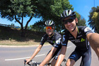 Keagan Girdlestone, right, is a South African-born cyclist based in Christchurch has been battling back from a devastating crash. Photo / Facebook