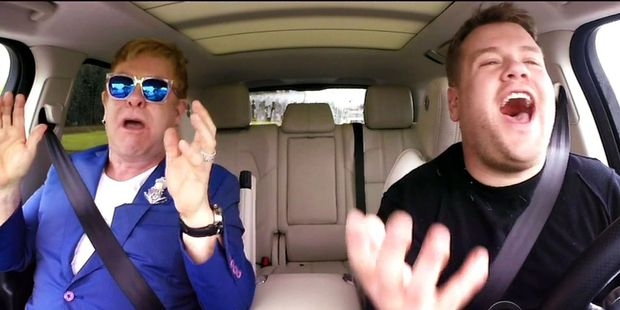 Elton John with James Corden during Carpool Karaoke from in Corden's show Late Late Show.