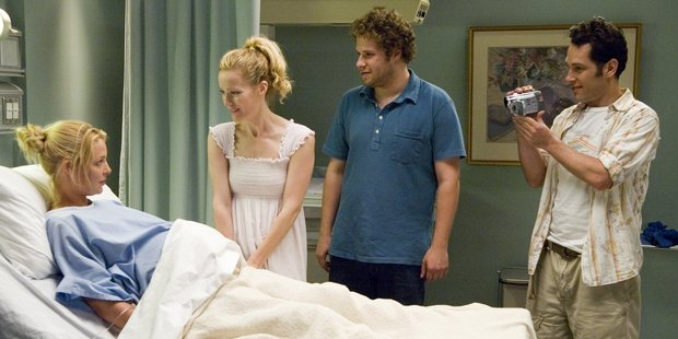 Katherine Heigl told the radio host that she'd only seen Seth Rogen once since they filmed Knocked Up together.