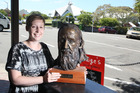 POET'S CORNER: Elise Goodge holds a bust of James K. Baxter to which the Guyton Group Trust hopes to add a body. PHOTO/ FILE