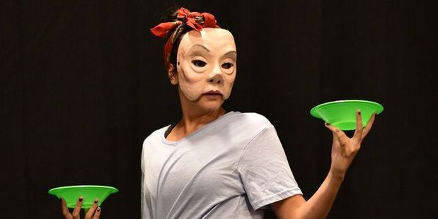 Wearing masks allows actors in Leilani to entirely vanish into the characters. Photo / Supplied