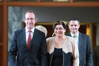 Labour leader Andrew Little and Green Party co-leaders Metiria Turei and James Shaw banded together in May.