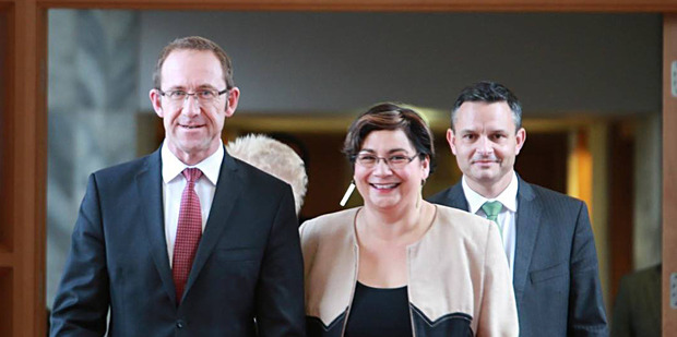 Loading Labour leader Andrew Little and Green Party co-leaders Metiria Turei and James Shaw banded together in May.