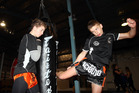KILLER KICKS: Lucas McAdam (right) trains under the supervision of his brother, Aaron. PHOTO/Paul Taylor