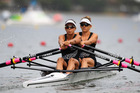 Rotorua's Julia Edward (front) and Sophie MacKenzie of New Zealand compete during the Lightweight Women's Double Sculls Heat 2 on Day 3 of the Rio 2016 Olympic Games. PHOTO/GETTY IMAGES