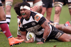 Jorian Tangaere scores a try for the Magpies against North Harbour in a pre-season match at Park Island in Napier tonight. PHOTO PAUL TAYLOR