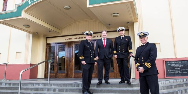 Lieutenant Commander Neville Smith, left, Mayor Bill Dalton, visiting RNZN Captain Andrew Watts, ONZM, RNZN and Operation Neptune creative director Lieutenant Commander Mark Hadlow. PHOTO/Supplied