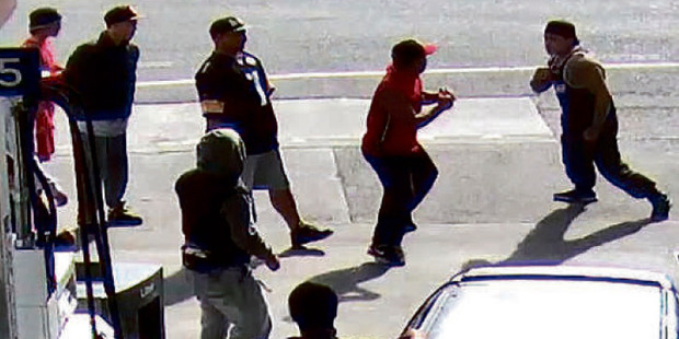 A brawl by rival gangs in Kaikohe's main street on the forecourt of a petrol station last year. Thirteen people were arrested following the brawl, which was recorded on CCTV and by members of the public.