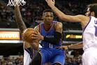 Oklahoma City Thunder guard Russell Westbrook looks to pass against Sacramento. Photo / AP
