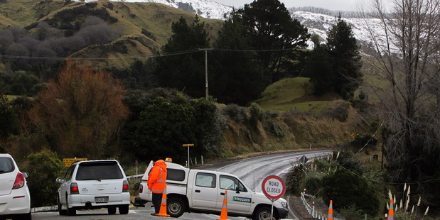Road block's, like this one at Te Pohue, will remain in place until closures are lifted for SH5. PHOTO/Warren Buckland.