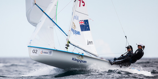 Jo Aleh and Polly Powrie won the second race in the women's 470. Photo / SAILING ENERGY