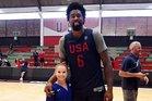 137cm USA gymnast Ragan Smith, 15, with 213cm USA basketballer DeAndre Jordan, 28. Photo / Twitter