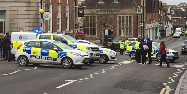 The bomb scare caused Sevenoaks' town centre to be cordoned off for several hours, Maidstone Crown Court heard. Photo / @JSSSevenoaks Twitter