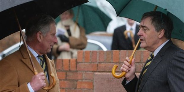 Prince Charles talks with the late Duke of Westminster in Aldford, England. Photo / AP