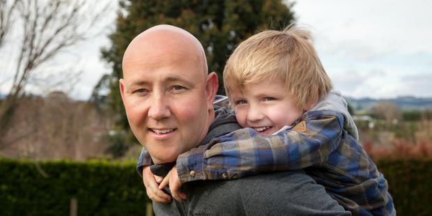 Tauranga man Richard Peeters with his son William, 4. Photo / Supplied
