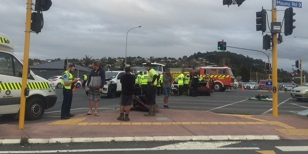 The crash at the intersection of Maunu and Otaika Rds. Photo / Alexandra Newlove