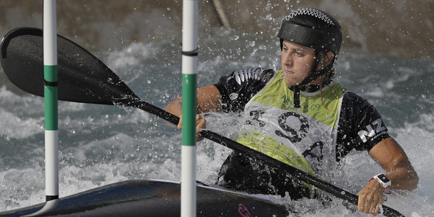 Luuka Jones of New Zealand on the white water course during a training session ahead of the Canoe Slalom at the 2016 Rio Olympics in Rio de Janeiro. Photo / AP