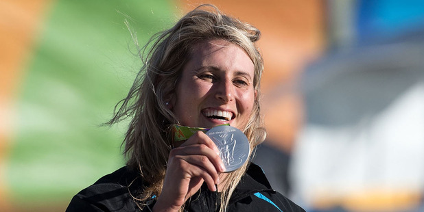 Luuka Jones celebrates with her silver medal in the canoe slalom. Photo / Photosport