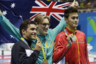 Australia's Mack Horton, middle, called out China's Sun Yang, right, as a drugs cheat. Photo / AP