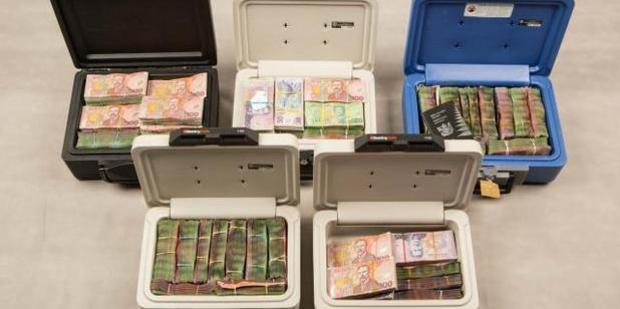 Cash seized in Operation Genoa. File photo / NZ Police