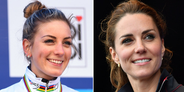 Fans have pointed out that French cyclist Pauline Ferrand-Prevot, left, bears an uncanny resemblance to the Duchess of Cambridge, right. Photo / Getty and AP Images