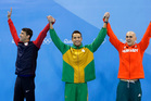 Silver medal winners United States' Michael Phelps, South Africa's Chad Le Clos and Hungary's Laszlo Cseh. Photo / AP