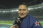 Highlight and interview with Valerie Adams after he close defeat in the Olympic Shot put event