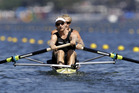 Eric Murray and Hamish Bond, of New Zealand, compete in the men's pair heat. Photo / AP