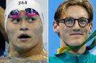 Sun Yang, left, and Mack Horton are rivals on and off the water. Photos / AP