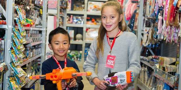 Ayla Maihi, 10, from Papatoetoe and Kyle Calubaquib, 6, from Milford are official toy testers for The Warehouse.