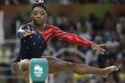 United States' Simone Biles performs on the balance beam. Photo / AP