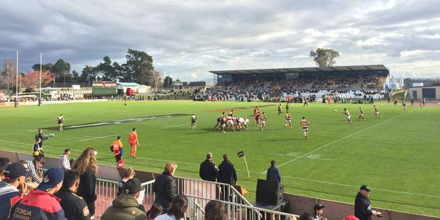 BOP Steamers vs Taranaki Bulls at Tauranga Domain, scrum just before half-time. Photo/Ruth Keber