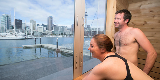 Rob Storey and Ruth Moloney of the North Shore made the trip over the bridge to check out Auckland's new pop-up sauna on Sunday. Photo / Nick Reed