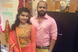 Sneha Thomas (left) and Jithu Jose were part of the Indian Independence Day celebrations.