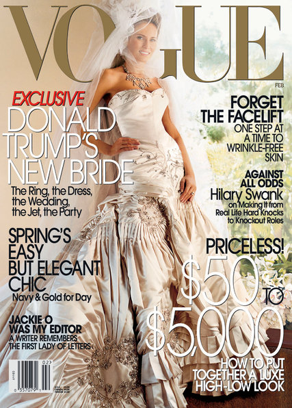 Melania Trump on the cover of Vogue, 2005.