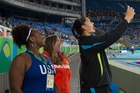 New Zealand's Valerie Adams, taking a selfie with the two other medallists in the shot put, typifies how an athlete should act in defeat. Photo / Photosport.nz