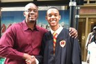 Arshell 'Trey' Dennis III (right), 19, and a St John's University journalism student and son of police officer Arshell 'Chico' Dennis was killed randomly in Chicago. Photo / Facebook