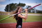 Nineteen-year-old Eliza McCartney attempts to claim New Zealand's first pole vault medal today. Photo / Dean Purcell