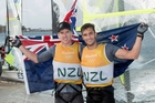 New Zealand's opening ceremony flagbearers Peter Burling (left) and Blair Tuke won Rio gold in the 49er class. Picture / Photosport