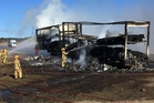 The scene of the truck fire south of Taupo.