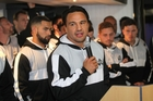Magpies captain Ash Dixon thanks the sponsors at last night's launch. Photo / Duncan Brown