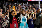 Virginia delegates cheered as Senator Tim Kaine of Virginia officially became the party's vice-presidential nominee at the Democratic Convention. Photo / AP