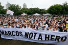 Protesters gather at Rizal Park during a rally to oppose the burial of the late Philippine dictator Ferdinand Marcos at the Heroes' Cemetery in Manila, Philippines. Photo / AP
