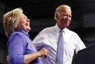 Democratic presidential candidate Hillary Clinton and US Vice-President Joe Biden on stage in Scranton, Pennsylvania. Photo / AP