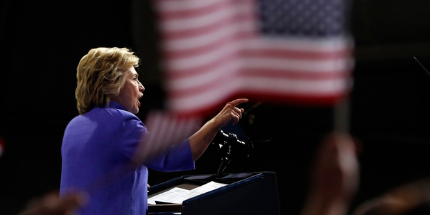 Democratic presidential candidate Hillary Clinton has concentrated on appealing to her party's base. Photo / AP