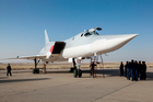 In this photo taken yesterday, a Russian Tu-22M3 bomber stands on the tarmac at an air base near Hamedan, Iran. Photo / AP